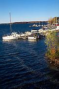 Boats moored by the shores of Lake Minnetonka.  Minnetonka Minnesota USA