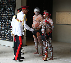 The Duke of Sussex meets indigenous people as he attends the opening of the Anzac Memorial in Hyde Park, Sydney, on the fifth day of the royal couple's visit to Australia.