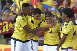 June 13, 2017 - Getafe, Spain - James Rodriguez of the Colombia team celebrates the goal with his teammates against Cameroon, a friendly match played at the Coliseum Alfonso Pérez stadium in Getafe, Tuesday, June 13, 2017. (Credit Image: © Luis Salgado/NurPhoto via ZUMA Press)