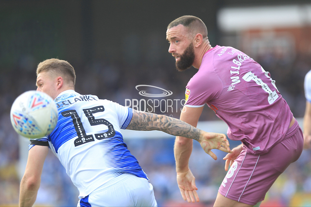 Aaron Wilbraham wins the ball  during the EFL Sky Bet League 1 match between Bristol Rovers and Rochdale at the Memorial Stadium, Bristol, England on 22 April 2019.