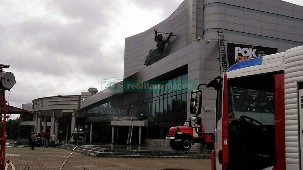 September 4, 2017 - Yekaterinburg, Russia - September 4, 2017. - A vehicle crashed into the entrance of 'Kosmos' cinema in the city of Yekaterinburg in Russia's Ural Federal District causing a huge blaze. The 39-year-old suspected driver Denis Murashov was the only one injured in the incident, he is being treated at a local hospital for burns. The Mayor of Yekaterinburg Evgeny Roizman wrote on Twitter that the man is mentally unstable and his motives are unclear. The authorities have launched an investigation into the case. Photo: facebook.com/rdani (Credit Image: © Russian Look via ZUMA Wire)