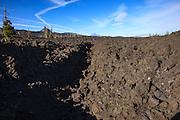 USA, Oregon, Mt. McKenzie Pass Scenic Byway, Mt. Washington, Mt Jefferson and lava channel.