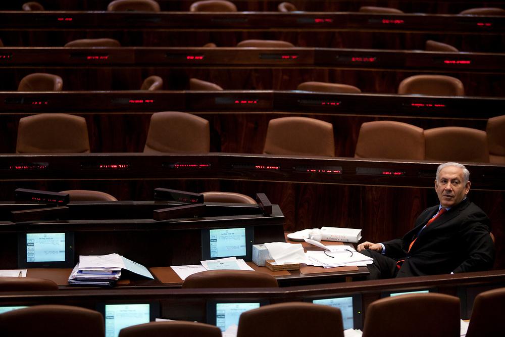Israel's Prime Minister Benjamin Netanyahu attends a session of the Knesset, Israel's parliament in Jerusalem, on November 23, 2011.
