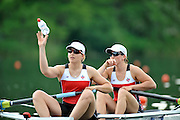 Lucerne, SWITZERLAND.  CAN,  W2- Bow.N. MASTRACCI and L. LAZDINS. move away from the start pontoon, 2012 FISA Olympic Qualifying Regatta on the Rotsee Rowing Course,  Sunday  20/05/2012  [Mandatory Credit Peter Spurrier/ Intersport Images]
