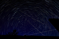 Startrail Looking North. Composite of images (21:49-22:19) taken with a Nikon D850 camera and 19 mm f/4 PC-E lens (ISO 200, 19 mm, f/4, 30 sec). Raw images processed with Capture One Pro and the composite created using Photoshop CC (scripts, statistics, maximum).