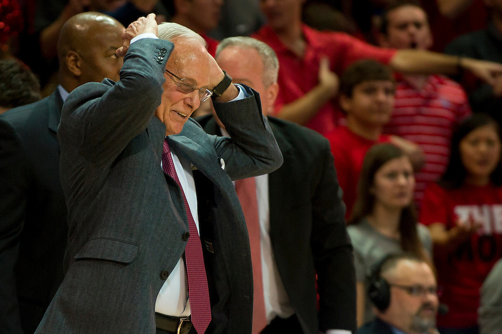 DALLAS, TX - JANUARY 4: SMU Mustangs head coach Larry Brown looks on against the Connecticut Huskies on January 4, 2014 at Moody Coliseum in Dallas, Texas.  (Photo by Cooper Neill) *** Local Caption *** Larry Brown