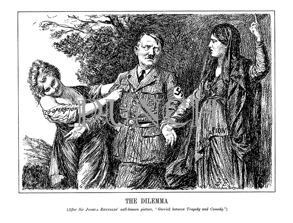 """The Dilemma. (After Sir Joshua Reynolds well-known picture, """"Garrick before Tragedy and Comedy.) (Comedy wearing her dress of 'Co-operation' pulls Hitler away from Tragedy and her 'Isolation' clothes, as Hitler makes it plain that he will choose Comedy)"""