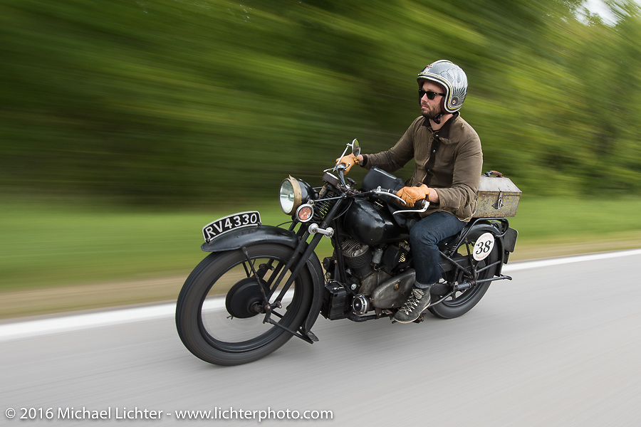 Alan Stulberg of Revival Cycles (Austin) riding Bryan Bossier's 1933 Brough Superior 11-50 during Stage 6 of the Motorcycle Cannonball Cross-Country Endurance Run, which on this day ran from Cape Girardeau to Sedalia, MO., USA. Wednesday, September 10, 2014.  Photography ©2014 Michael Lichter.