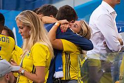 July 7, 2018 - Samara, RUSSIA - 180707 Victor Nilsson Lindelöf of Sweden hugs his wife Maja Nilsson after loosing the FIFA World Cup quarter final match between Sweden and England on July 7, 2018 in Samara..Photo: Joel Marklund / BILDBYRÃ…N / kod JM / 87755 (Credit Image: © Joel Marklund/Bildbyran via ZUMA Press)