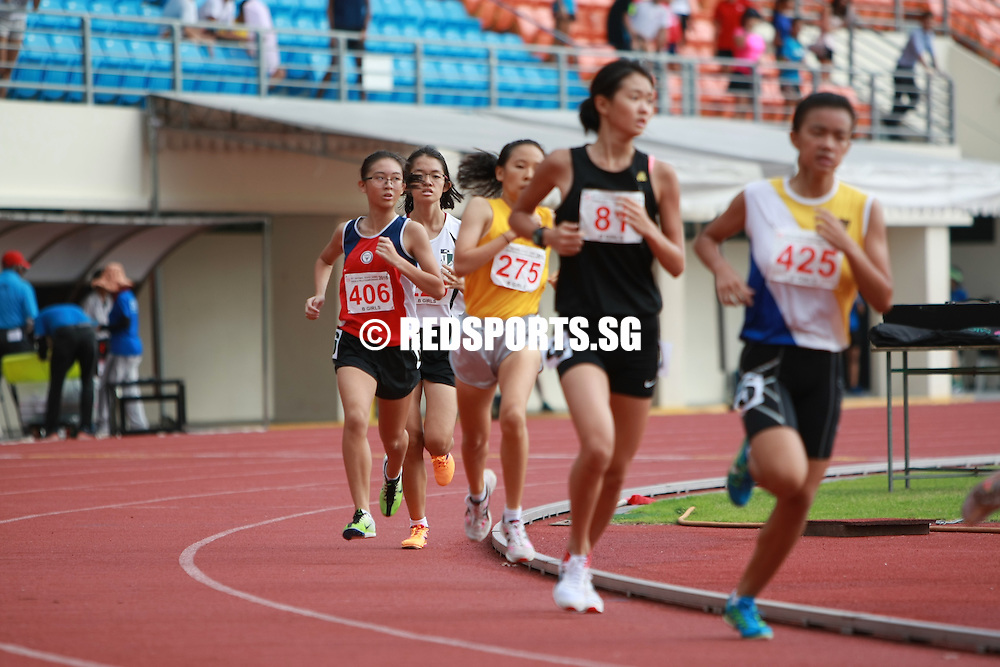 Bishan Stadium, Monday, April 25, 2016 – Joyceleen Yap of Cedar Girls' Secondary took home her first gold with a 5 minutes 16.34 seconds run in the B Division girls' 1500m final at the 57th National Schools Track and Field Championships.<br /> <br /> Joyceleen had finished second last year to Arissa Rashid of Nanyang Girls' High who had an unfortunate accident in the final straight.<br /> <br /> Arissa was still leading in the last lap with Joyceleen right behind her when she fell just a few metres before the finishing line. Joyceleen went on to overtake Arissa who missed out on her fourth straight 1500m gold.