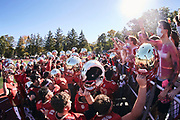 ORADELL, NJ - October 17: Despite Covid-19 social distancing protocols, the tradition of celebrating with their 'Crusader Crazies' was never in question. Here we have The Crusaders chanting with their student section after their first home win.<br /> <br /> We are in the midst of witnessing something this world has never experienced - a global pandemic. The coronavirus has swept away the world in March of 2020 - since then, the world we know It hasn't been the same. Jobs, businesses and futures have been put on hold and lost, yet, we have to power through to overcome one of the greatest obstacles this we have faced. The high school football season wasn't suppose to happen, but a glimmer of hope, intense safety measures & a little bit of luck has allowed for the season to start, now the question is ' Can It be completed?'<br /> <br /> Photo by Johnnie Izquierdo