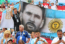 June 30, 2018 - Kazan, Russie - KAZAN, RUSSIA - JUNE 30, 2018: Team Argentina's supporters ahead of the 2018 FIFA World Cup Round of 16 match between France and Argentina at Kazan Arena Stadium. (Credit Image: © Panoramic via ZUMA Press)