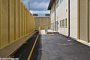 The walkway to the YOI reception centre.  HMP & YOI Littlehey. Littlehey is a purpose build category C prison.