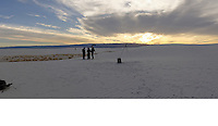 Image 2 of 4. Panorama of White Sands National Monument at Sunrise with Several Nikonian ANPAT 12 Photographers. Composite of 11 images taken with a Nikon 1 V1 camera and 10 mm f/2.8 lens (ISO 100, 10 mm, f/8, 1/60 sec). The Raw images were first processed with DxO Optics Pro 8, then combined using AutoPano Giga Pro. The final image was 19189 x 2185 pix, equivalent to a field of view of 337° x 37° (almost 360°).