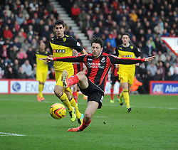 Bournemouth's Harry Arter fails to keep the ball in play - Photo mandatory by-line: Alex James/JMP - Tel: Mobile: 07966 386802 18/01/2014 - SPORT - FOOTBALL - Goldsands Stadium - Bournemouth - Bournemouth v Watford - Sky Bet Championship