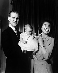 File photo dated 26/04/49 of Queen Elizabeth II and the Duke of Edinburgh holding their first child Prince Charles, aged six months in Buckingham Palace. The Duke of Edinburgh has died, Buckingham Palace has announced. Issue date: Friday April 9, 2020.. See PA story DEATH Philip. Photo credit should read: PA Wire