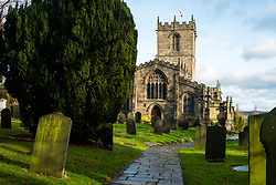 St Marys Church Ecclesfield lit by the the early afternoon winter sun viewed from the Lychgate <br /> <br />  30 December 2018<br />  Copyright Paul David Drabble<br />  www.pauldaviddrabble.co.uk