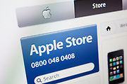 Computer screen showing the website for online shop for Apple. Also known as the Apple Store.