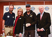 "© Licensed to London News Pictures. 04/03/2013. Heathrow, UK (left to right) Anton Bowring - Expedition Co-Leader, Joanna Lumley - Expedition Trustee, Sir Ranulph Fiennes, Tony Medniuk - Expedition Chairman. Explorer Sir Ranulph Fiennes returns to the UK after pulling out of ""The Coldest Journey"" Expedition to the Antarctic at winter due to frostbite. The Coldest Journey Press Conference today 4th March 2013 at Heathrow Airport. Photo credit : Stephen Simpson/LNP"