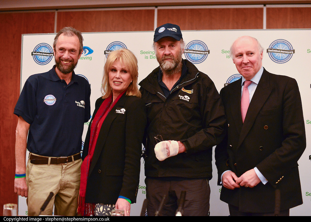"""© Licensed to London News Pictures. 04/03/2013. Heathrow, UK (left to right) Anton Bowring - Expedition Co-Leader, Joanna Lumley - Expedition Trustee, Sir Ranulph Fiennes, Tony Medniuk - Expedition Chairman. Explorer Sir Ranulph Fiennes returns to the UK after pulling out of """"The Coldest Journey"""" Expedition to the Antarctic at winter due to frostbite. The Coldest Journey Press Conference today 4th March 2013 at Heathrow Airport. Photo credit : Stephen Simpson/LNP"""