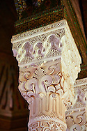 Berber Mocarabe Honeycomb work plaster columns and capitals in the Riad of the Kasbah of Telouet, Atlas Mountains, Morocco .<br /> <br /> Visit our MOROCCO HISTORIC PLAXES PHOTO COLLECTIONS for more   photos  to download or buy as prints https://funkystock.photoshelter.com/gallery-collection/Morocco-Pictures-Photos-and-Images/C0000ds6t1_cvhPo<br /> .<br /> <br /> Visit our ISLAMIC HISTORICAL PLACES PHOTO COLLECTIONS for more photos to download or buy as wall art prints https://funkystock.photoshelter.com/gallery-collection/Islam-Islamic-Historic-Places-Architecture-Pictures-Images-of/C0000n7SGOHt9XWI