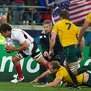 JJ Gagiano, USA, scores a try for his side as he avoids the challenge of Rocky Elsom, Australia, during the Australia V USA, Pool C match during the IRB Rugby World Cup tournament. Wellington Stadium, Wellington, New Zealand, 23rd September 2011. Photo Tim Clayton...