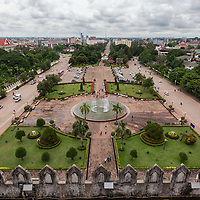 """View from the top of Patuxai, also known as """"Arc de triomphe"""" of Vientiane."""