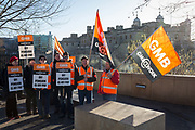 "For the first time in 55 years, Beefeaters with the GMB trade union have come out on strike and picket outside the Tower of London, on 22nd January 2019, in London England. The protest  about pension changes means Beefeaters and other staffs final salary pensions will be replaced by an inferior plan leaving them ""significantly worse off."" GMB and PCS both said 50 of their members participated in the indistrial action at the Tower of London, Kensington Palace and Hampton Court."