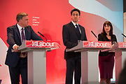 London, UK. Wednesday 29th April 2015. Labour Party Leader Ed Miliband, Shadow Chancellor Ed Balls, and Shadow Secretary of State for Work and Pensions Rachel Reeves at a General Election 2015 campaign event on the Tory threat to family finances, entitled: The Tories' Secret Plan. Held at the Royal Institute of British Architects.