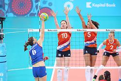 20150619 AZE: 1ste European Games Baku Servie - Nederland, Bakoe<br /> Nederland verslaat Servie met 3-2 /Lonneke Sloetjes #10, Robin de Kruijf #5