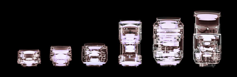 X-ray photography of 6 different lenses