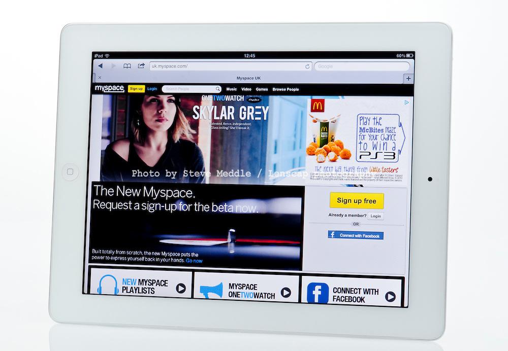 Apple Ipad showing Myspace Website  - Jan 2013.
