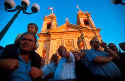 MALTA GOZO SANNAT JUL00 - Spectators and local dignitaries stand in front of Sannat Church prior to the procession during the Fiesta.. . jre/Photo by Jiri Rezac. . © Jiri Rezac 2000. . Tel:   +44 (0) 7050 110 417. Email: info@jirirezac.com. Web:   www.jirirezac.com