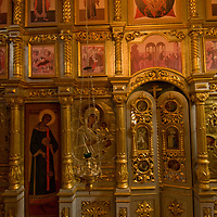 The gilt and painted altar of a relocated historic Russian Orthodox church is preserved in the Malye Korely outdoor museum, near the northern port of Arkhangel'sk.
