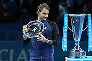 Roger Federer with his runner up trophy during the final of the ATP World Tour Finals between Roger Federer of Switzerland and Novak Djokovic at the O2 Arena, London, United Kingdom on 22 November 2015. Photo by Phil Duncan.