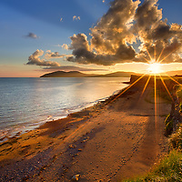 Waterville Beach with dramatic Sunset and Sunstar, County Kerry, Ireland - irish landscape / wv034