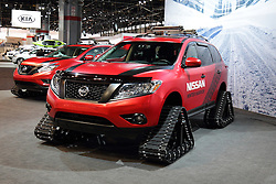 11 February 2016: Nissan Winter Warrior cat track vehicle.<br /> <br /> First staged in 1901, the Chicago Auto Show is the largest auto show in North America and has been held more times than any other auto exposition on the continent.  It has been  presented by the Chicago Automobile Trade Association (CATA) since 1935.  It is held at McCormick Place, Chicago Illinois<br /> #CAS16