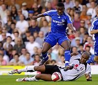 Photo: Daniel Hambury.<br />Fulham v Chelsea. The Barclays Premiership. 23/09/2006.<br />Fulham's Zat Knight cant stop Chelsea's Salomon Kalou.