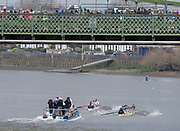 Hammersmith, Greater London, 15th March 2020, Inaugural Women's Lightweight Boat Race, [L] Oxford University Lightweight Women, [Blue Boat], and  [R] Cambridge University Lightweight Women's BC, passing under, Hammersmith Bridge, Championship Course, Putney to Mortlake, River Thames, [Mandatory Credit: Peter SPURRIER/Intersport Images],
