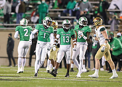 Dec 18, 2020; Huntington, West Virginia, USA; Marshall Thundering Herd safety Derrek Pitts (1) celebrates after a stop during the first quarter against the UAB Blazers at Joan C. Edwards Stadium. Mandatory Credit: Ben Queen-USA TODAY Sports