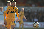 Christian Jolley of Newport county in action . Skybet football league two match, Newport county v Exeter city at Rodney Parade in Newport, South Wales on Sunday 16th March 2014.<br /> pic by Mark Hawkins, Andrew Orchard sports photography.