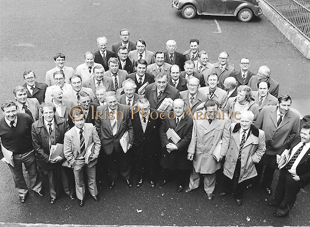 Members stand for a group photograph during the GAA Congress which was held at Coláiste Mhuire on the 24th of March 1979.