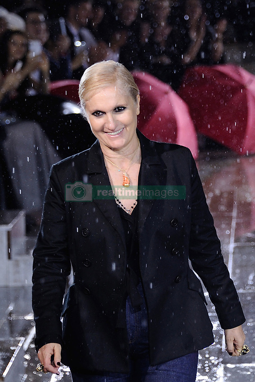 Designer Maria Grazia Chiuri makes an appearance on the runway during the Christian Dior Couture S/S19 Cruise Collection at the Grandes Ecuries de Chantilly, France on May 25, 2018. Photo by Aurore Marechal/ABACAPRESS.COM