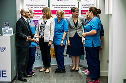 Pictured: Patrick Harvie, Alison Johnstone and Maggie Chapman have a chat with some nursing colleagues.<br /> Alison Johnstone, health spokeswoman for the Scottish Greens, was joined by party co-conveners Patrick Harvie and Maggie Chapman as she spoke to nurses about pay at the Royal College of Nursing in Edinburgh. The talks came ahead of the party's conference in Edinburgh at the weekend.<br /> <br /> Ger Harley | EEm 20 October 2017