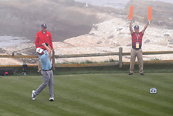 June 12, 2019 - Pebble Beach, CA, U.S. - PEBBLE BEACH, CA - JUNE 12: PGA golfer JB Holmes tees off on the 18th hole during a practice round for the 2019 US Open on June 12, 2019, at Pebble Beach Golf Links in Pebble Beach, CA. (Photo by Brian Spurlock/Icon Sportswire) (Credit Image: © Brian Spurlock/Icon SMI via ZUMA Press)