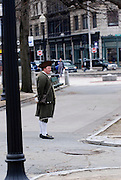 USA, Massachusetts, Boston man dressed as a New England patriot