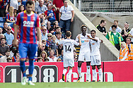 Tammy Abraham of Swansea City © celebrates with teammates after he scores his teams 1st goal. Premier League match, Crystal Palace v Swansea city at Selhurst Park in London on Saturday 26th August 2017.<br /> pic by Kieran Clarke, Andrew Orchard sports photography.