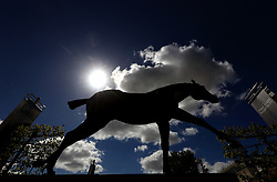 A general view of a Horse Statue ahead of day one of The bet365 Craven Meeting at Newmarket Racecourse.
