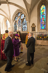 The Queen with a new stained glass window that was created to mark her Diamond Jubilee at  Southwark Cathedral in London, Thursday, 21st November 2013. Picture:  i-Images
