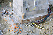 construction with cement blocks